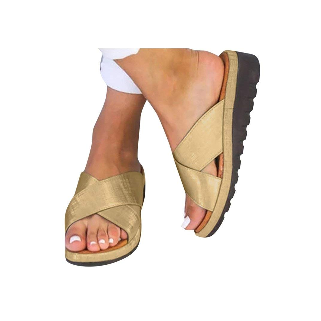 Women's Aditi Low Wedge Dress Sandals Casual Flip Flops Buckle Strap Wedges Sandals Platforms Shoes Gold by NIKAIRALEY Shoes