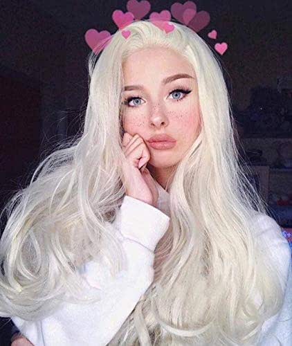 Zenith Fairy-Style Platinum Blonde Lace Front Wigs All-purpose Cosplay Wigs 24'' (Silver Blonde)