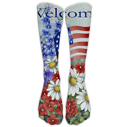 Mr.Roadman Welcome Red White Flower Knee High Socks Casual Stockings Comfortable Novelty Sports Socks Size 6-10 (One Pair) ()