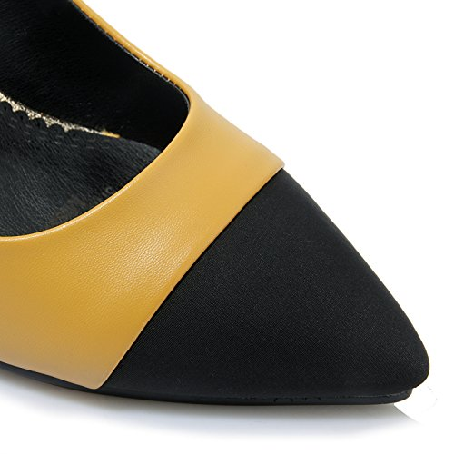 AIWEIYi AIWEIYi AIWEIYi Womens Patch Color Pointed toe Wedge High Heels Mary Janes Dress Pump Shoes B01N1O6D7V US 5.0=CN 34=Feet 22.0cm|Yellow 25ae06