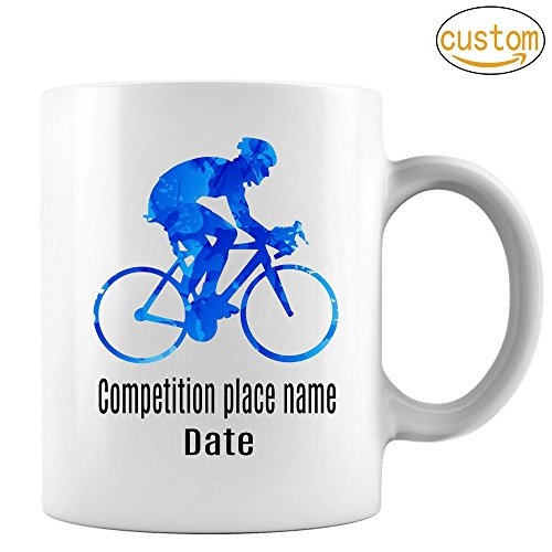 Blue cyclist Mug,Cycling Mug, Cyclist Mug, Mountain Bike Mug,Tour of France Mug, Tour of Italy Mug, Perfect Gift for Your Dad, Mom, Boyfriend, Girlfriend, or Friend -Custom Mug Add Name & date 11 oz by CMSKFENKSE
