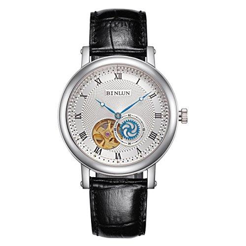 BINLUN Skeleton Automatic Watch Waterproof Mens Wrist Watches Stainless Steel Black Leather Strap