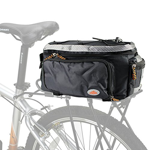 ezyoutdoor Bike Pannier Bag | Durable & Waterproof Nylon With Extra Padded Foam Bottom & Side Reflectors | Shoulder Strap Rack Rear Trunk Tote Bag | Strong Velcro with Zipper Pockets