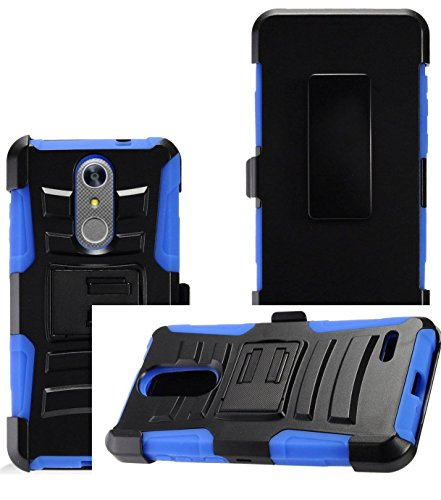 2Layer Rugged Rubber Case Cover w/Holster Belt Clip for ZTE Grand X4 / Blade Spark Phone (Black on (Faceplate Cover Case Blue Clip)