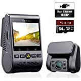 VIOFO Dash Cam A129 Duo Dual Channel 140° Wide Angle Wi-Fi Full HD 1080P Front and Rear Camera with GPS with 64GB SD Card Super Night Vision Support Wireless Remote Control, Parking Mode, G-Sensor