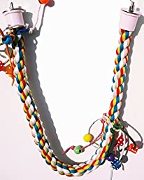 Bonka Bird Toys 1115 Large Rope Charm Perch Bird Toy Parrot Cage Toys Cages Amazon Cockatoo