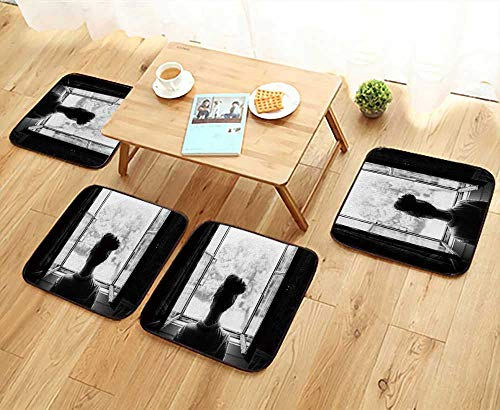 UHOO2018 Universal Chair Cushions Woman Look Through The Window Garden or Forest in The Countryside Personalized Durable W15.5 x L15.5/4PCS Set