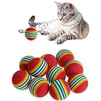 Palline in Schiuma Morbida per Gatti da 3,5 cm Giocattolo per Animali Domestici Wonque 6 Pezzi Palla Giocattolo per Gatti in Morbida Schiuma Arcobaleno