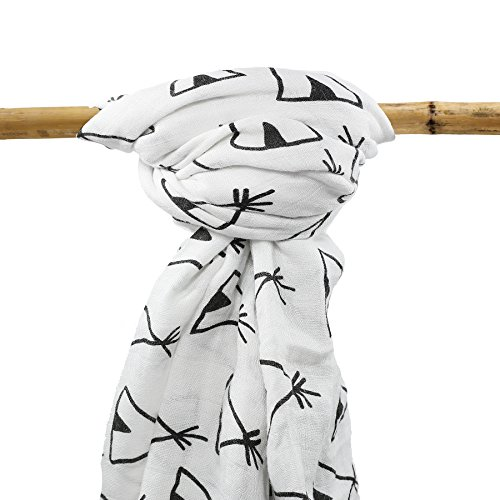 Organic Bamboo Muslin Swaddle Blanket - Oversized - Excellent Baby Shower Gift (Woodland Cotton Cap)
