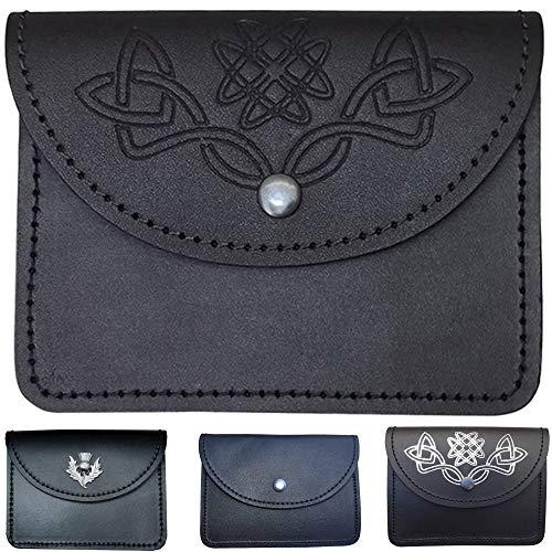 (Scottish Celtic Embossed Black Leather Belt Pouch Sporran Bag Piper Drummer)