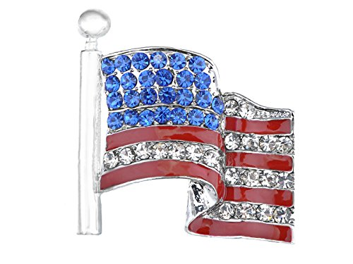 (Alilang America USA Patriotic American Red White Blue Crystal Rhinestone Waving Flag Brooch Pin)