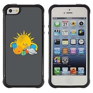 Be-Star único patrón Impacto Shock - Absorción y Anti-Arañazos Funda Carcasa Case Bumper Para Apple iPhone 5C ( Sun Star System Planets Kids Drawing )