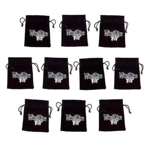 """Wiz Dice 10 Medium 3"""" x 4"""" Black Velour Pouches with Drawstrings (Embroidered)"""