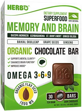 Brain and Memory Booster in Organic Dark Chocolate by Herbo Superfood - Nootropic Supplement Improves Focus & Memory, Gives Clarity - Bacopa, DMAE, Ginkgo, Rhodiola, Phosphatidylserine, Omega-3
