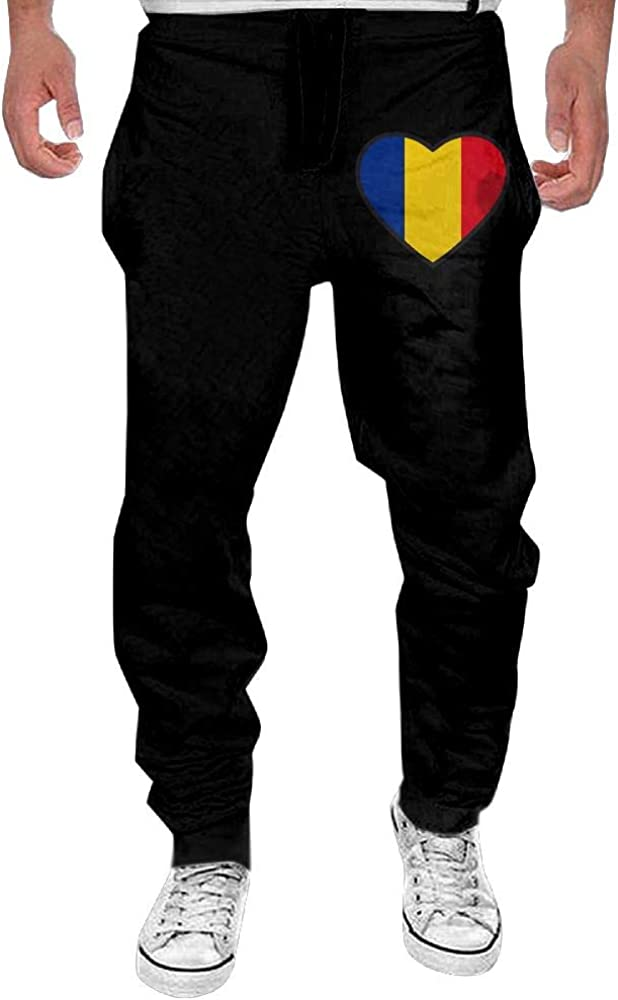 Yecx-1 Mens Romania Flag Heart Sport Cotton Jogger Pants,Gym Beam Trousers