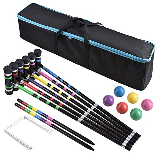 ([6 Players]Premium Croquet Set for Families, BroWill Croquet Set with Carrying Bag for Yard Outdoor Lawn Backyard Games for Kids Adults All Ages, 35 Inch)