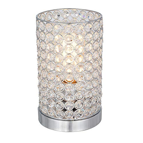 Rivet Modern Glam Glass Beads Uplight Table Desk Accent Lamp With LED Light Bulb - 5.5 x 5.5 x 9 Inches, Chrome