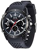 TOMORO Men Date Day LED Alarm Black Rubber Band Analog Quartz Military Sport Unique Digital Watches