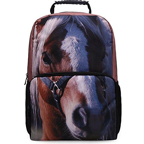 Skymoon 17.5 Inch Kid's Cute Horse Printing School Backpacks(brown - For Girls Backpack Hawk