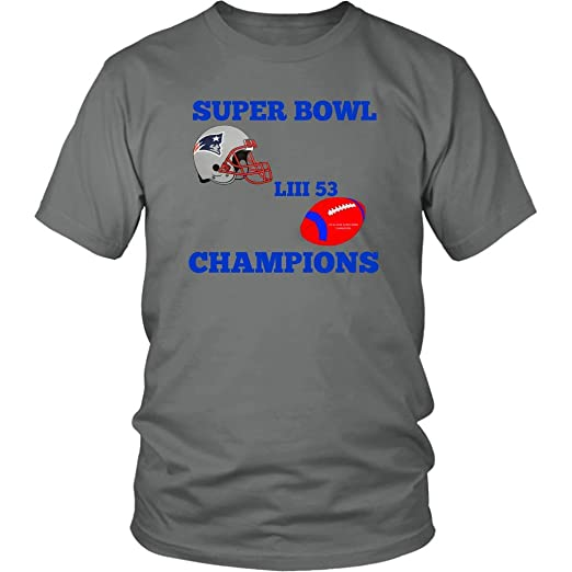 Amazon.com  Patriots Super Bowl LIII 53 Champions 2019 X-Large Grey ... 31f540a6b
