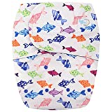HappyEndings Teen/Adult Hook and Loop Closure Stain Resistant Reusable Cloth Diaper for Incontinence So Many Fishes in The Sea