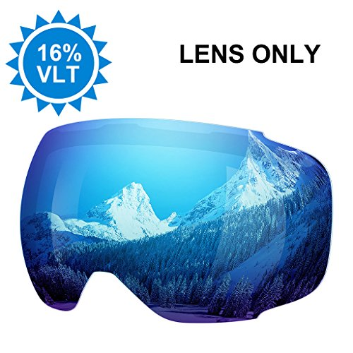 Enkeeo Ski Goggles Replacement Lenses Anti-fog 100% UV400 Protection for Skiing Snowboarding Snowmobile Skating Winter Sports