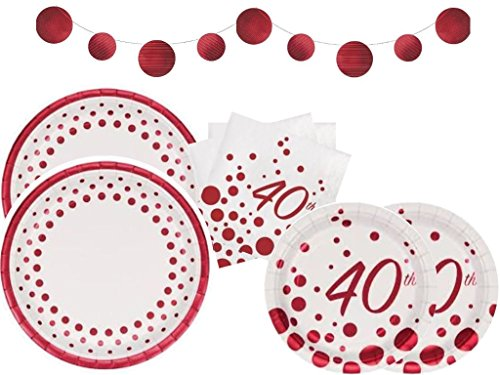 40th Anniversary Plates - Sparkle & Shine Ruby 40th Anniversary Deluxe Party Supplies Kit Including Dinner Plates, Dessert Plates, Luncheon Napkins & Foil Banner