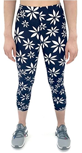 (CW-X Women's Mid Rise 3/4 Capri Stabilyx Compression Legging Tights (Small, Navy/White Daisy Print))