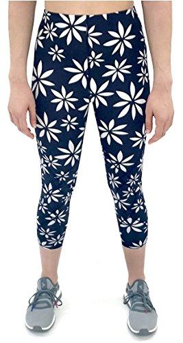 CW-X Women's 3/4 Stabilyx Tights Print Navy/White Daisy Print Medium
