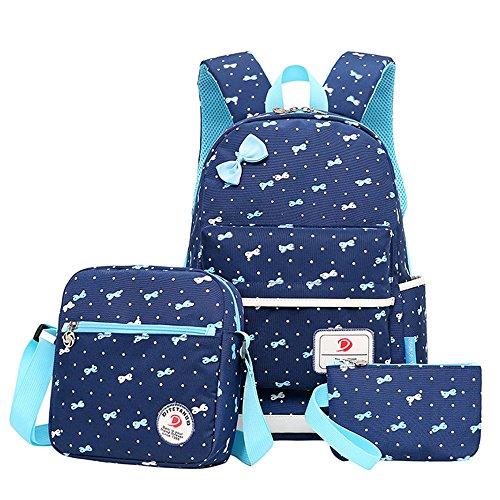 HONEYJOY 3 Pieces Girls School Backpack Set Cute Bookbag for Teens Lightweight Water-Resistant ()