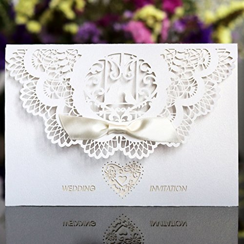 Wedding Invitations Cards,Benbilry 20x Elegant White Laser Cut Wedding Invitations Cards with Hollow Flora Favors,Printable Cardstock and bow Silk Ribbon for Engagement Wedding Marriage Bridal Shower