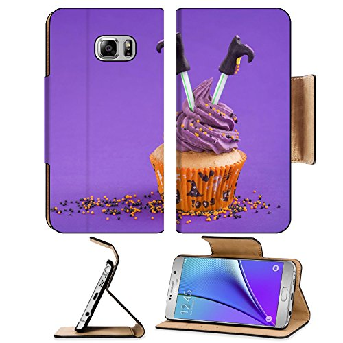 Luxlady Premium Samsung Galaxy Note 5 Flip Pu Leather Wallet Case Note5 IMAGE ID: 22167569 Halloween cupcake with witch