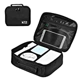 ZRSE Electronics Organizer, Portable Travel Gadget Organizer Electronic Accessories Cable Bag for Cables, Hard Drive,iPad Mini Black