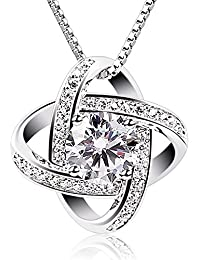 Silver Necklace Womens 925 Silver Cubic Zirconia Pendant Gemini Necklace Mother's Day Gift