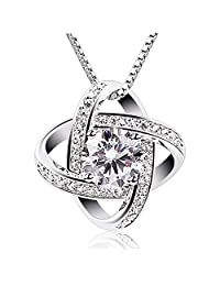 B.Catcher Women Sterling Silver Necklaces 925 Silver Cubic Zirconia Pendant Gemini Necklace Fine Jewellery Gifts