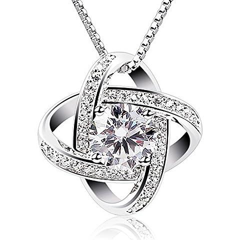 B.Catcher Women Sterling Silver Necklaces 925 Silver Cubic Zirconia Pendant Gemini Necklace (Necklaces & Pendants)