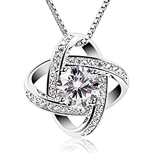 B.Catcher Silver Necklace Womens 925 Silver Cubic Zirconia Pendant Gemini Necklace