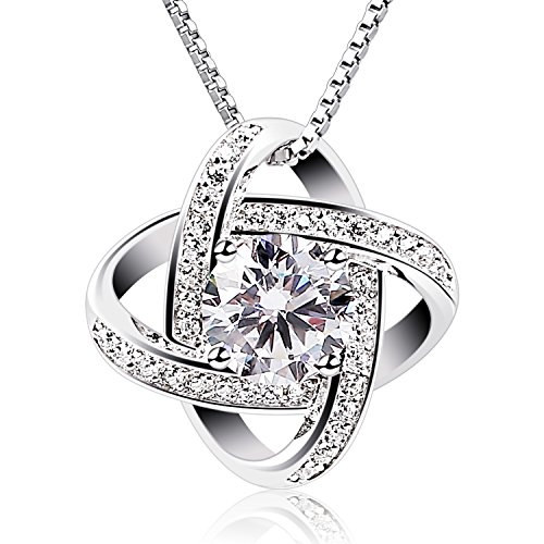 Pendant Silver Women Necklaces - B.Catcher Silver Necklace Womens 925 Silver Cubic Zirconia Pendant Gemini Necklace Mother's Day Gift