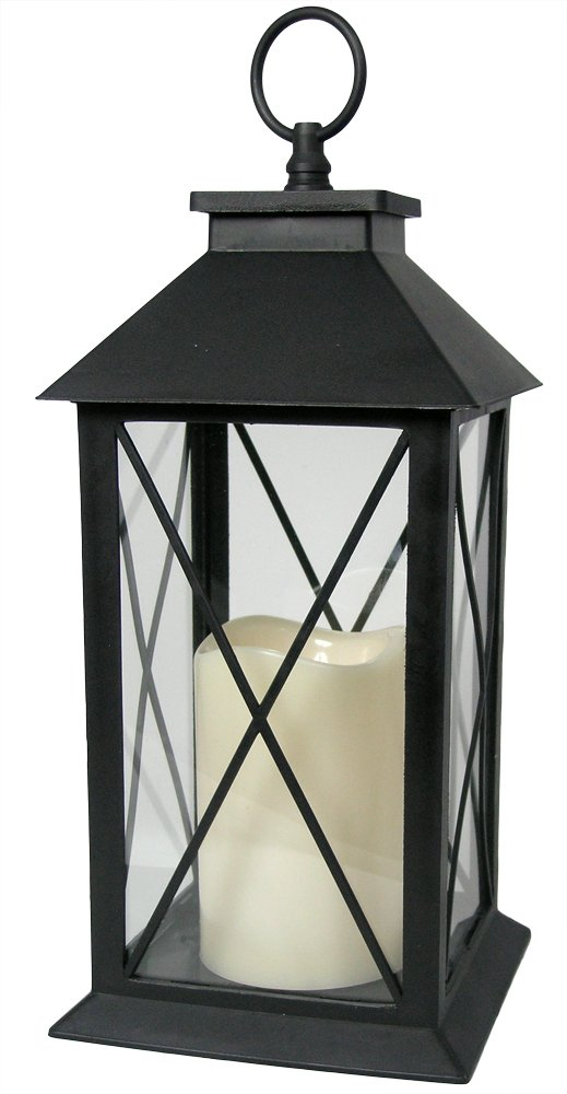 Black Decorative Lantern with Cross Bar Design - LED Pillar Candle with 5 Hour Timer included - Hanging or Sitting Decoration - 13''H