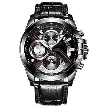 Relojes Hermosos, CADISEN Hombre Reloj de Moda Chino Cuarzo Calendario Resistente al Agua Noctilucente Cronómetro Cuero Auténtico Banda Moda Cool Negro ...