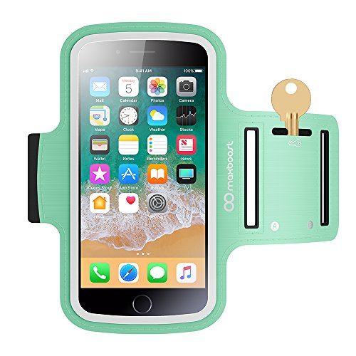 Maxboost Armband [Original] For Small Phone - iPhone x 8 7 6 6S SE 5 5C, Galaxy S9 s8 S7 S6 S5, LG,HTC,Nokia [Water Resistant] Universal Exercise Sports Running Pouch Key Holder + Fit Most Case -