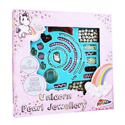 Unicorn Jewellery Design Set Girls Make Create Your Own Pearl Bead Necklace Kit For Ages 5+