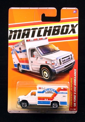 '08 FORD E-350 AMBULANCE * WHITE * Emergency Response Series (#6 of 11) MATCHBOX 2011 Basic Die-Cast Vehicle (#54 of 100)