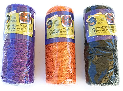 Halloween Crafter's Square Decorative Mesh for Crafting Wreaths, Centerpieces, Displays, Table Drape and MORE! Orange, Black, Purple