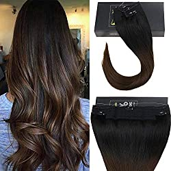 """Sunny 16inch Halo Hair Extensions Real Human Hair Color #1B Natural Black fading to #4 Dark Brown Mircale Wire Hair Extension 12"""" Width 80g Per Set"""