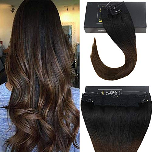 (Sunny 18inch Color #1B Natural Black fading to #4 Dark Brown Invisible Hair Extensions No Glue Wire Hair Extensions Human Hair 11