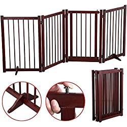 "Yaheetech 4-Wood Panel Dog Gate Freestanding Pet Fence Folding Safety Barrier 30"" Brown"