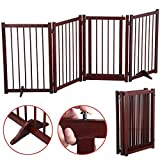 Yaheetech 4-Wood Panel Dog Gate Freestanding Pet Fence Folding Safety Barrier 30'' Brown