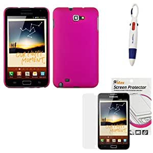GTMax Hot Pink Snap on Rubberized Hard Cover Case + Clear LCD Screen Protector + Ball Pen with 4 Colors for Samsung Galaxy Note N7000