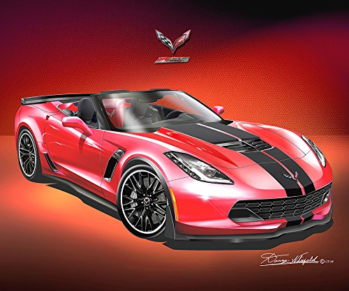 2014 - 2015 CORVETTE Z06 CONVERTIBLE - TORCH RED WITH STRIPES- ART PRINT POSTER BY ARTIST DANNY WHITFIELD - SIZE 24 X 36